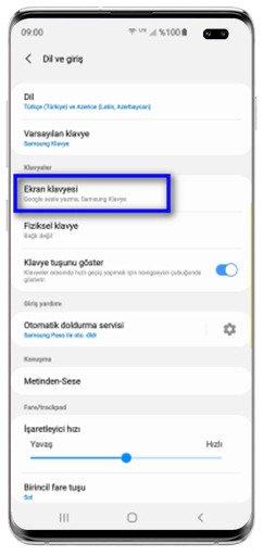 Galaxy S10 Serisi Klavye Türkçe Sesli Yazma Ayarı